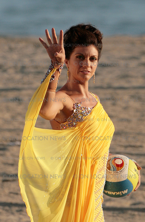 SANTA MONICA, CALIFORNIA - THURSDAY 4TH SEPTEMBER 2008. EXCLUSIVE: Misty May-Treanor shows off her Volleyball skills while wearing the dress that she will be dancing in on the new season of 'Dancing with the stars'. Beach Volleyball champion Misty May-Treanor captured her second Olympic gold medal at the 2008 Beijing Summer Olympic. Photograph: On Location News. Sales: Eric Ford 1/818-613-3955 info@OnLocationNews.com .