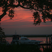A brilliant sunset behind a boat dock on the intercoastal waterway between Jekyll Island and Brunswick.