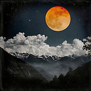 Alpine landscape at night with a full moon in orange - photo manipulation<br /> REDBUBBLE products: http://www.redbubble.com/people/dyrkwyst/works/22225188-moon-melodies<br /> Society6 products: https://society6.com/product/moon-melodies_print#1=45