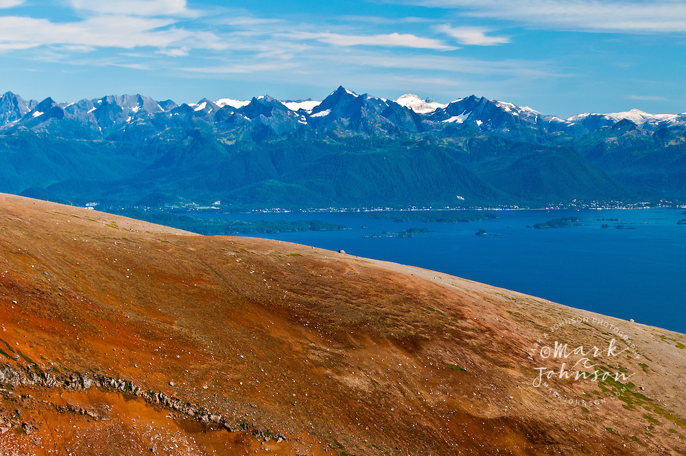 Baranof Island and the city of Sitka as seen from the summit of Mt. Edgecumbe, Kruzof Island, Southeast Alaska
