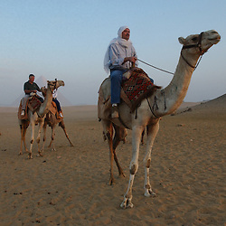 Cairo, Egpyt: Patrick J. Rozmajzl, 37, from Akron, Ohio takes his Uncle and Aunt, retired Army officer Thomas Hogan and JLo Hogan on camels to see the pyramids in Cairo, Egypt, October 22, 2002. (Photo by Ami Vitale)