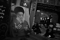 Mohamed Hussein Fadlallah used to lead the congregation at this mosque, south of Beirut, and was widely revered.