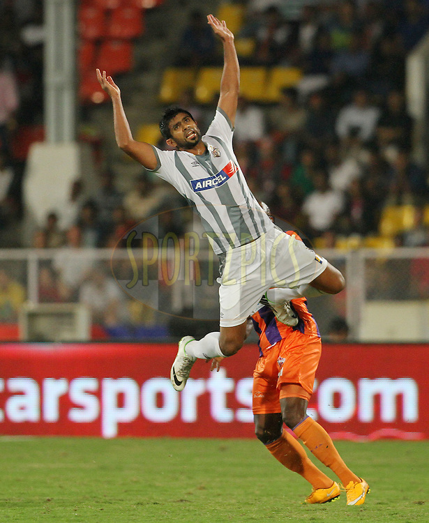 Mohammed Rafi Madambillath of Atletico de Kolkata during match 44 of the Hero Indian Super League between FC Pune City and Atletico de Kolkata FC held at the Shree Shiv Chhatrapati Sports Complex Stadium, Pune, India on the 29th November 2014.<br /> <br /> Photo by:  Vipin Pawar/ ISL/ SPORTZPICS