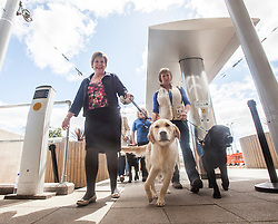 Lesley Hinds, Chair of Transport for Edinburgh helps trainee guide dogs who will travel on the trams for the first time to familiarise themselves with the service, at the Edinburgh Airport tram stop.