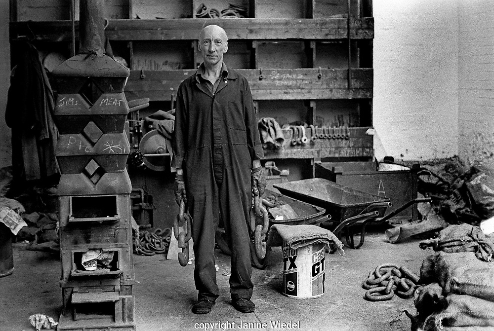 Frank Vaughan Jack of all trades at Barzilla Hingley Chain Workshop in Cradley Heath the Black Country West Midlands in the 1970's