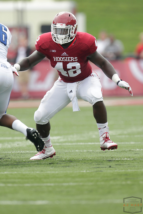 Indiana Hoosiers linebacker David Cooper (42) as the Indiana Hoosiers played the Indiana State Sycamores in a college football game in Bloomington, IN.