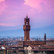 Sunset over the Palazzo Vecchio, a view from the Piazzele Michelangelo, Florence, Italy