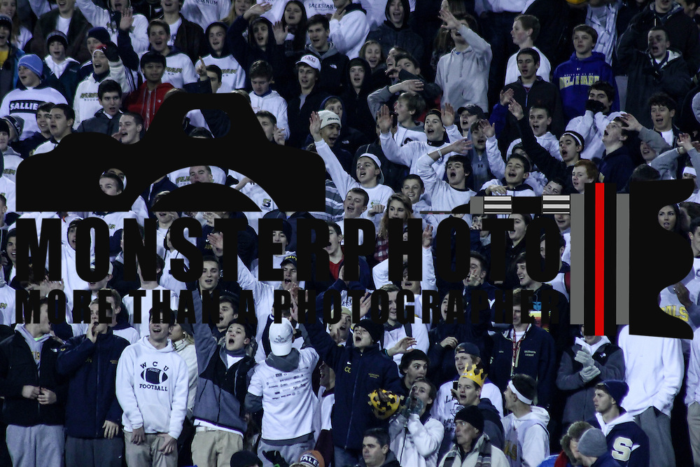 Salesianum students fans cheer in the stands in the fourth quarter of the DIAA State Championship football game between Salesianum and Middletown Saturday, Nov. 30 2013, at Delaware Stadium in Newark Delaware.