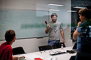 Employees discussing a project in a meeting room at the headquaters of the web portal Seznam.cz located in Prague Smichov. Employees are allowed and welcome to take their dogs with them to work. Seznam.cz is a web portal and search engine in the Czech Republic. Founded in 1996 by Ivo Lukačovič in Prague as the first web portal in the Czech Republic. Seznam started with a search engine and an internet version of yellow pages. Today, Seznam runs more than 15 different web services and associated brands. Seznam had more than 6 million real users per month at the end of 2014.[3] Among the most popular services, according to NetMonitor, are its homepage seznam.cz, email.cz, search.seznam.cz and its yellow pages firmy.cz