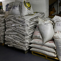 Canada, Nova Scotia, Guysborough. Bags of Hops and Grains at Microbrewery.