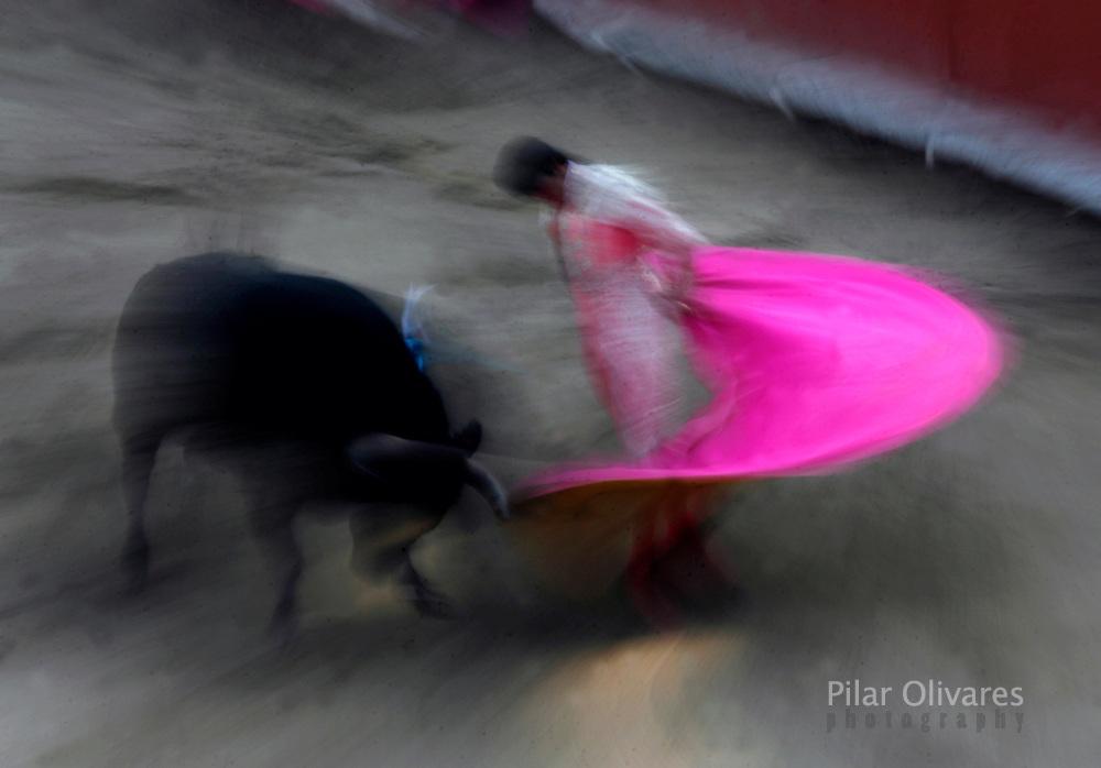 Spanish bullfighter Sebastian Palomo performs a pass to a bull during a bullfight at the Plaza de Acho bullring in Lima December 2, 2007.