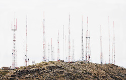 Radio and television towers on South Mountain in Phoenix, Arizona