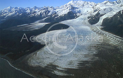 Alaska. Glacier Bay NP. Moraines, glaciers and mountains as seen from a small plane.
