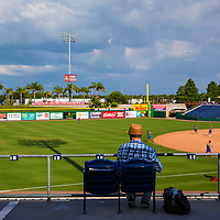 CLEARWATER, FL -- May 14, 2015 -- Former MLB and NFL player Drew Henson scouts for the New York Yankees during a game between the Clearwater Threshers and the Charlotte Stone Crabs at Bright House Field in Clearwater, Florida. (PHOTO / CHIP LITHERLAND)