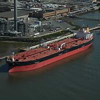 Aerial photograph of oil tanker and  terminals along the east coast.
