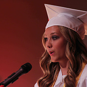 Senior class vice president Kaitlin Ulmer addresses students during Red Lion Christian Academy commencement exercise Friday, May 29, 2015, at Glasgow Church in Bear, Delaware.