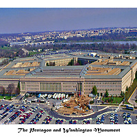 Aerial view of Washington Monuments, national landmarks. <br /> The Pentagon and Washington Monument