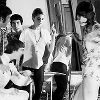 Actress Sedgwick aka 'Factory Girl' and Warhol entourage at the Silver Factory.  Photo taken in 1965 with a 35 mm Nikon FM.