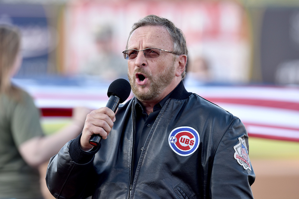 Apr. 9, 2015; Wayne Messmer sings the national anthem before the South Bend Cubs Opening Day 2015, Four Winds Field, South Bend, IN. (Photo by Matt Cashore)