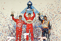 Ryan Briscoe, Scott Dixon, Mario Moraes, Peak Antifreeze and Motor Oil Indy 300, Chicagoland Speedway, Joliet, IL USA