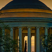 Tourists at the Thomas Jefferson Memorial during a sepia sunset, Washington, DC