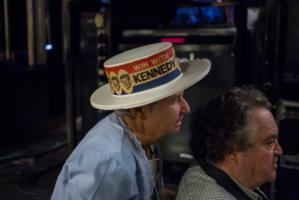 A woman wears a John F. Kennedy campaign hat at the Democratic National Convention on Tuesday, September 4, 2012 in Charlotte, NC.