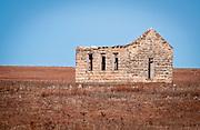 Abandoned Stone Building.Flint Hills West of Piedmont, KS.January 7, 2012