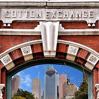Houston, Texas Composite of Two Photos<br /> Two photos of Houston, Texas are: The Victorian brick fa&ccedil;ade with sandstone arched window of the Houston Cotton Exchange Building where 100,000 bales of cotton were traded annually from 1884 until 1924; and The western downtown Houston skyline including the Heritage Plaza in the center and Wells Fargo Bank Plaza behind it.