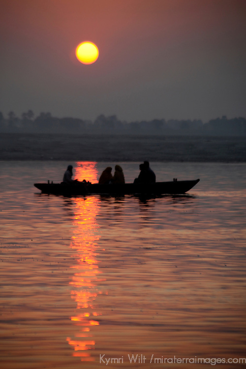 Asia, india, Varanasi. Sunrise on the holy Ganges River at Varanasi.