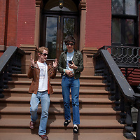 Musician Adam Green and actor Macaulay Culkin, who together made a movie made with an iPhone, pose for a portrait in New York...Photo by Robert Caplin.