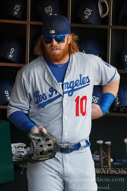 SAN FRANCISCO, CA - OCTOBER 02: Justin Turner #10 of the Los Angeles Dodgers stands in the dugout before the game against the San Francisco Giants at AT&T Park on October 2, 2016 in San Francisco, California. The San Francisco Giants defeated the Los Angeles Dodgers 7-1. (Photo by Jason O. Watson/Getty Images) *** Local Caption *** Justin Turner