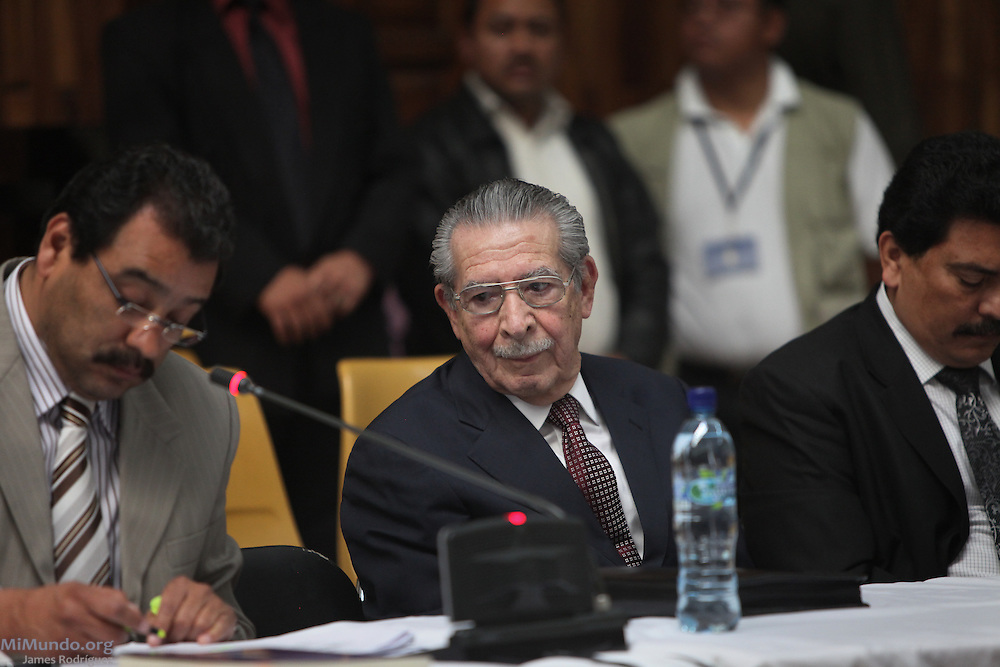 Former de facto dictator Efraín Ríos Montt listens in the courtroom inside Guatemala's Supreme Court of Justice on the day when the long awaited Genocide trial begins against him and his head of Intelligence Jose Mauricio Rodriguez Sanchez. Guatemala, Guatemala. March 19, 2013.