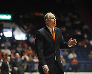 "Miami head coach Jim Larranaga makes a point to the officials during a game against Mississippi at the C.M. ""Tad"" Smith Coliseum in Oxford, Miss. on Friday, November 25, 2011."