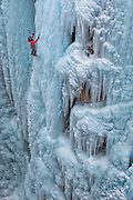 "Alpinist Kitty Calhoun climbing ""Abridgement"" WI4 in the Ouray Ice Park, Ouray Colorado."