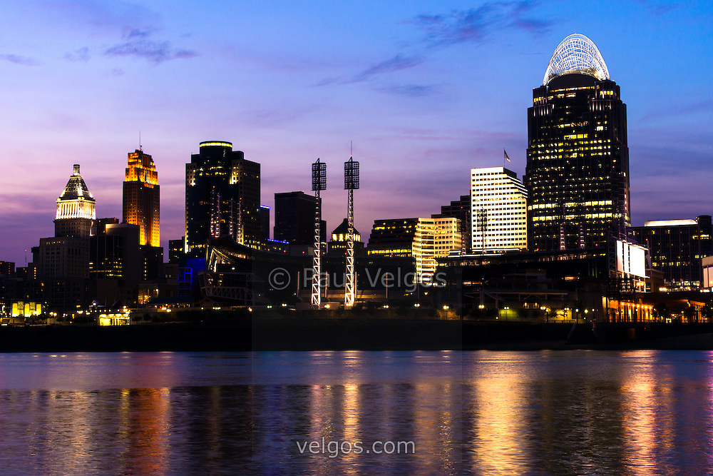 Cincinnati at night downtown city skyline buy canvas for Us city skylines photos