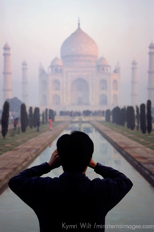 Asia, India, Uttar Pradesh, Agra. The majestic Taj Mahal captured by a tourist.