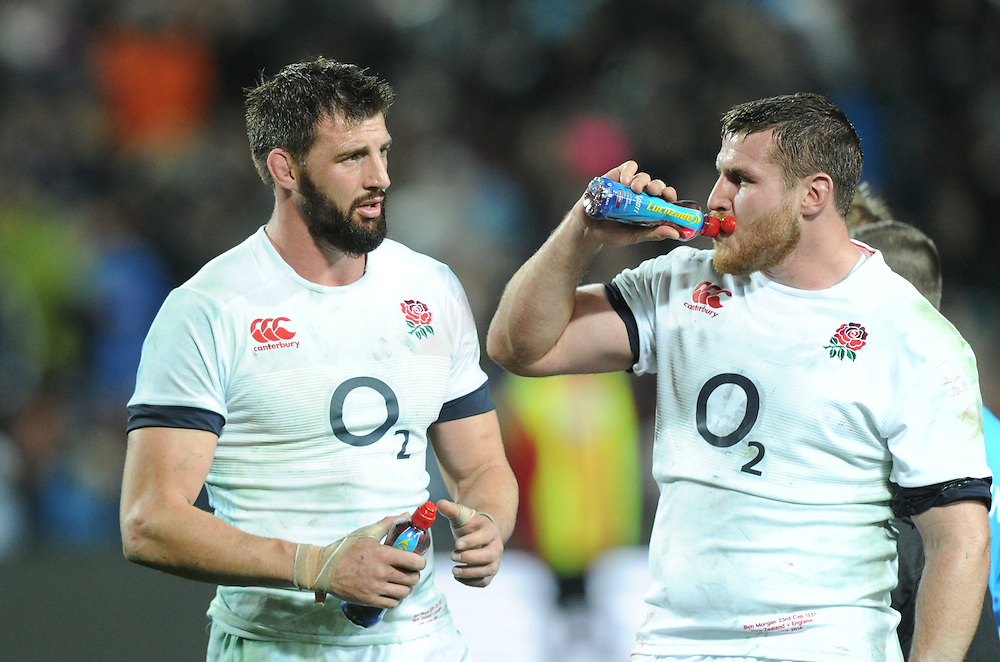 England's Tom Wood, left and Ben Morgan after their teams defeat to New Zealand in the third International Rugby Test at Waikato Stadium, Hamilton, New Zealand, Saturday, June 21, 2014.Credit:SNPA / Ross Setford