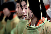 Image of a traditional rice planting ceremony with geisha girls, Kyoto, Japan