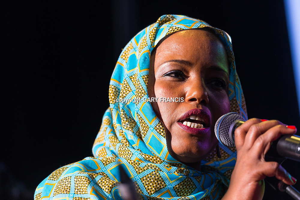 Aziza Brahim from the Western Sahara performs at Womadelaide 2017 Music Festival held between 10 - 13 March 2017 in Adelaide, South Australia