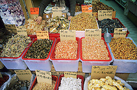 A variety of dried food, Tai Po Market, Hong Kong, China.