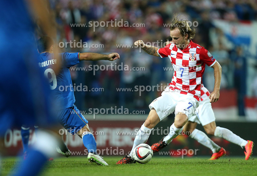 13.10.2014, Stadion Gradski vrt, Osijek, CRO, UEFA Euro Qualifikation, Kroatien vs Aserbaidschan, Gruppe H, im Bild Ivan Rakitic // during the UEFA EURO 2016 Qualifier group H match between Croatia and Azerbaijan at the Stadion Gradski vrt in Osijek, Croatia on 2014/10/13. EXPA Pictures &copy; 2014, PhotoCredit: EXPA/ Pixsell/ Igor Kralj<br /> <br /> *****ATTENTION - for AUT, SLO, SUI, SWE, ITA, FRA only*****