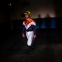Hall of Fame Jockey Gary Stevens  walks out to the paddock on December 21, 2013 at Betfair Hollywood Park in Inglewood, California . The Track is set to close on December 22, 2013 after operating for 75 Years.(Alex Evers/ Eclipse Sportswire)