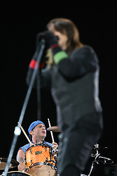 Chad Smith, drummer of the Red Hot Chilli Peppers, headliners on the main stage at T in the Park, Sunday 2006..©Michael Schofield..