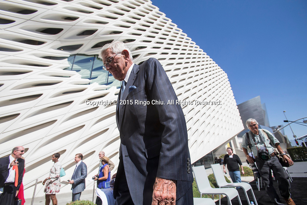 Eli Broad greets guests during the civic dedication at The Broad on September 18, 2015 in downtown Los Angeles.  The Broad, the contemporary art museum built to house the 2,000-piece collection acquired over decades by billionaire philanthropist Eli Broad and his wife, Edye. (Photo by Ringo Chiu/PHOTOFORMULA.com)