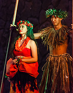 The goddess of fire, Pele, gives the silent treatment on stage during The Grand Luau at Honua'ula, luau at the Waldorf-Astoria Grand Wailea Resort in south Maui.