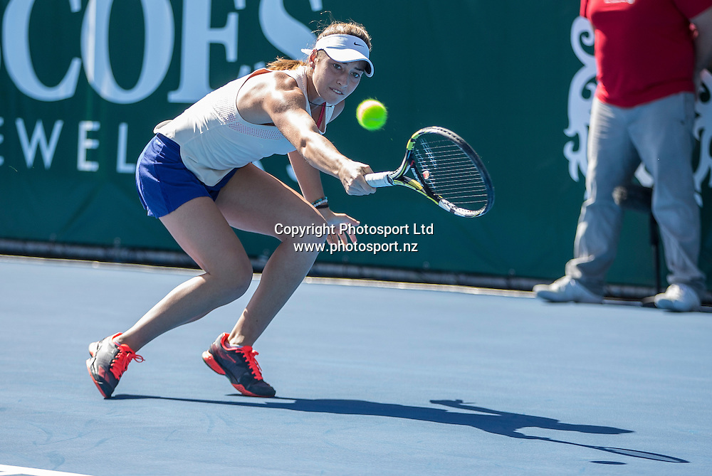 Jade Lewis in action during the womens singles final in the Pacoes NZ Tennis Champs held at the ASB Tennis Arena in Auckland. <br /> Credit; Peter Meecham/ www.photosport.nz