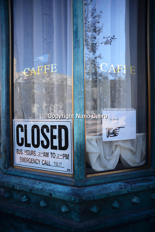 Closed sign in cafe at Market Street, San Francisco.