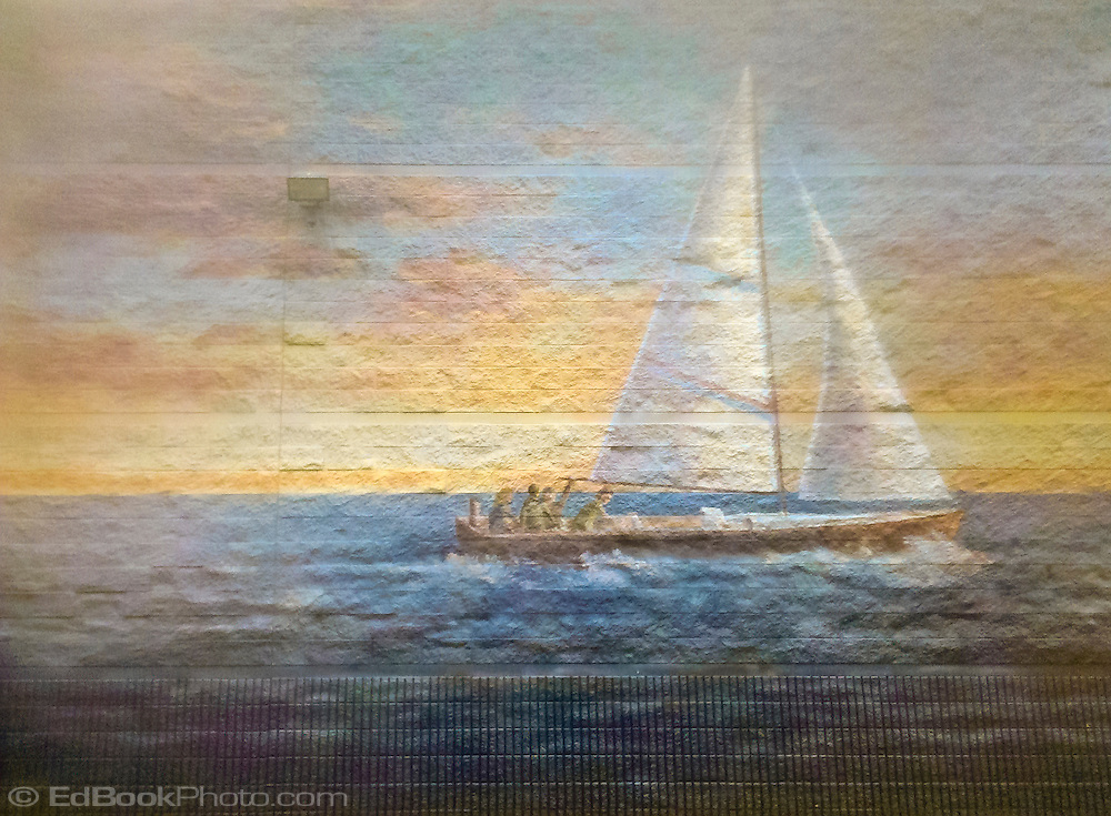 sailboat painted on a concrete block wall in Belfair, WA, USA