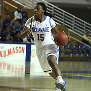 Delaware Guard Akeema Richards (15) drives to the basket in the first half of a NCAA regular season non-conference game between Delaware (CAA) and St. John's (Big East) Monday, Dec 30, 2013 at The Bob Carpenter Sports Convocation Center in Newark Delaware.