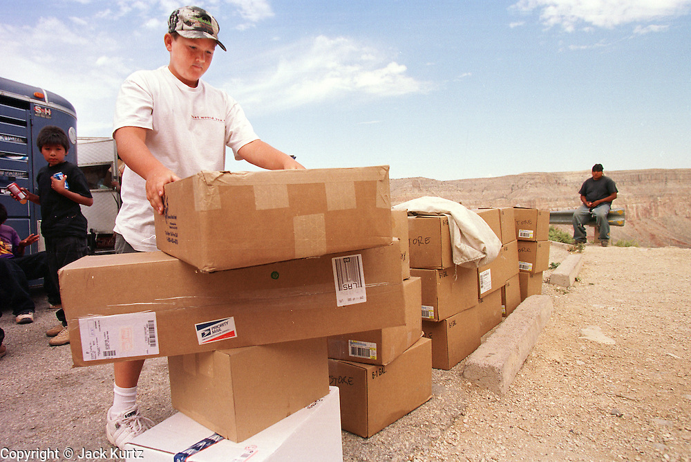 07 AUGUST 2000 - SUPAI, AZ: Lucas Paul Eggers, 11, unloads boxes of mail at the parking lot eight miles above the village of Supai on the Havasupai Indian reservation in northern Arizona, Aug. 7. There are no roads or rail service into Supai, a village of 600 people on the floor of the Grand Canyon, so the mail is delivered by mule train. The wranglers who lead the mules down to the village haul everything from letters and postcards to fresh produce and ice cream. Because of budget shortfalls, the US Postal Service is threatening to close the post office in Supai.   PHOTO BY JACK KURTZ